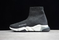 Balenciaga Speed Lt Clear Sole Knit Sock Sneakers Silver Grey